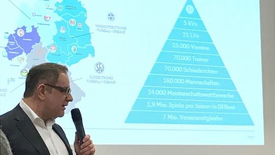 Dr. Frank Biendara erläutert die Struktur des DFB